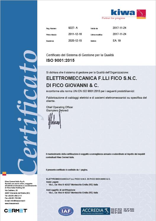Immagine PC 9227 certificato ISO 9001 del 24-11-2017